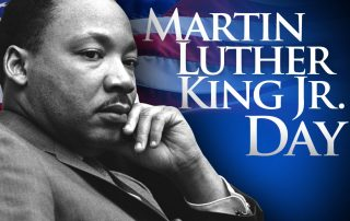 image of Martin Luther King Jr with USA flag in background