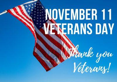 November 11 Veterans Day American Flag