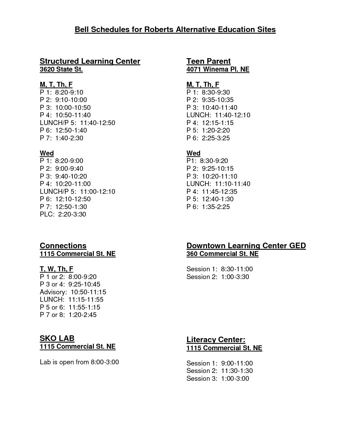Bell Schedules - Roberts High School
