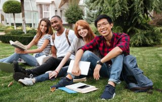 students outside on grass